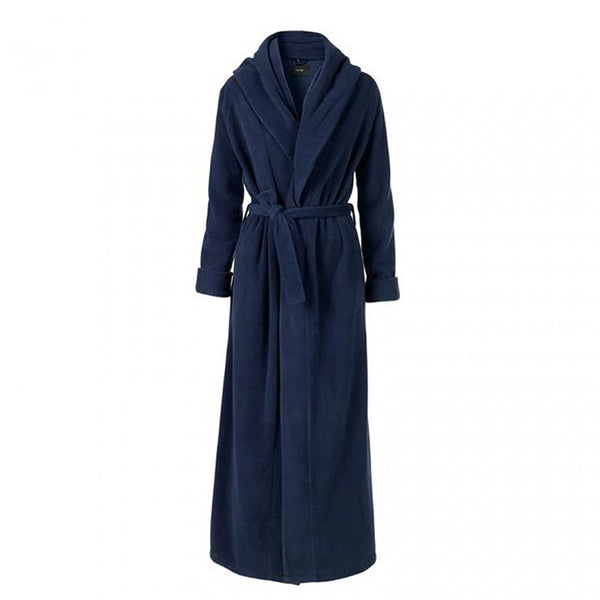 Unisex Adult's Flannel Bathrobe Lapel European Style Warm Elegant Long Thick for Winter