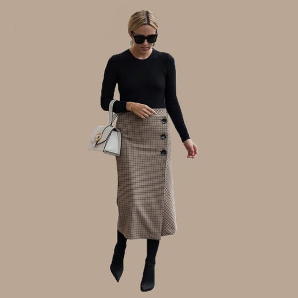 Women's Pencil Skirt Woolen Plaid High Waist Lattice Retro Elegant for Winter