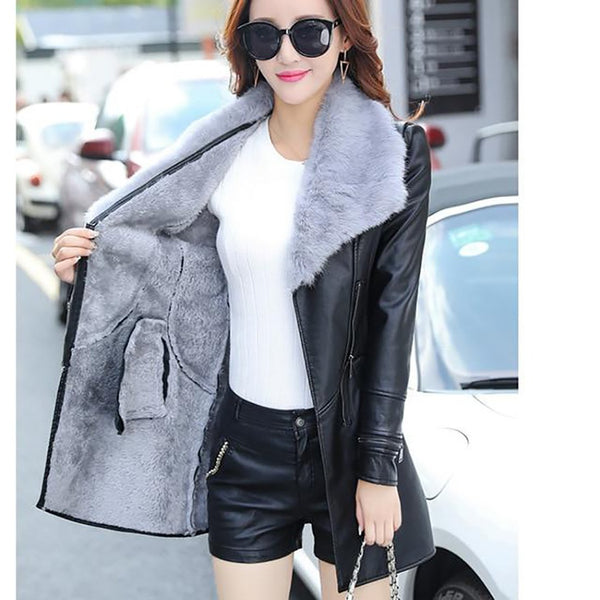 Women's Jacket Fur Collar Long Leather Sleeve Suede Bow for Winter Motorcycle