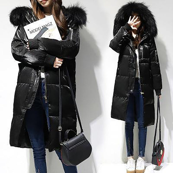 Women's Jacket Long White Duck Down Big Fur Collar Hooded Slim Outwear for Winter Snow