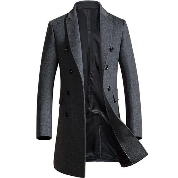 Men's Jacket Bouble Breasted Wool Thick Warm Casual Slim for Winter Business