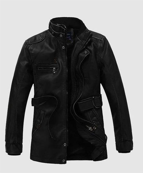 Men's Jacket Faux Leather British Style Casual Long Windproof Warm Outwear