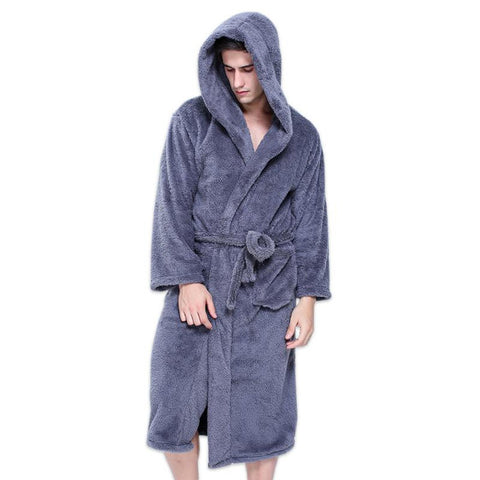 Men's Bathrobe Plus Size Hooded Warm Long Sleeves Plush for Winter