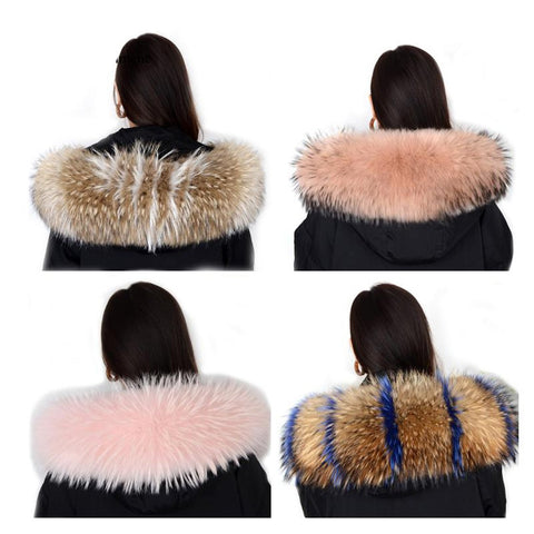 Women's Coat Real Natural Raccoon Fur Collar Hooded Removable Neck for Winter