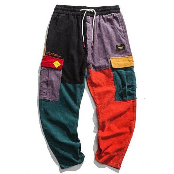 Men's Harem Sweatpants Corduroy Patchwork Pockets Hip Hop Streetwear