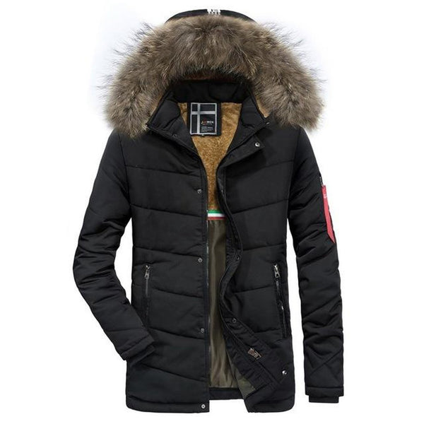 Men's Jacket Warm Thicken Casual Slim Fit Zip Up Hooded Puffer for Winter