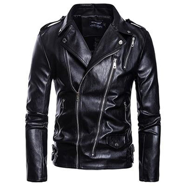 Men's Leather Jacket Asian Size Casual More Zippers Belt Decorate Zipper Wristband for Autumn Winter