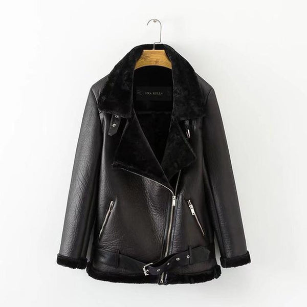Women's Coat Thickened Padded Warm PU Leather Turn Down Collar fpr Autumn Winter