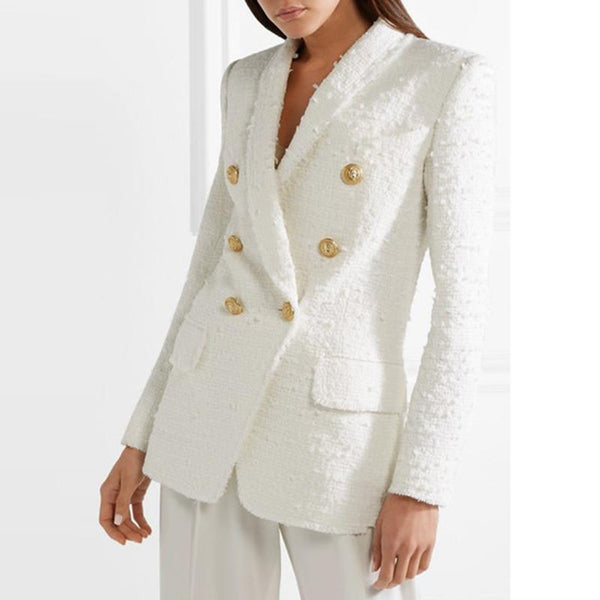 Women's Blazer Metal Buttons Collar Wool Blends Tweed