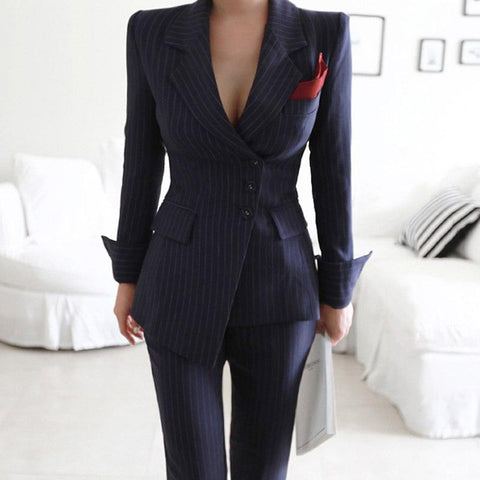 Women's Blazer and Pants Suit 2pcs/set Irregular Striped Single Breasted Slim Pencil for Business