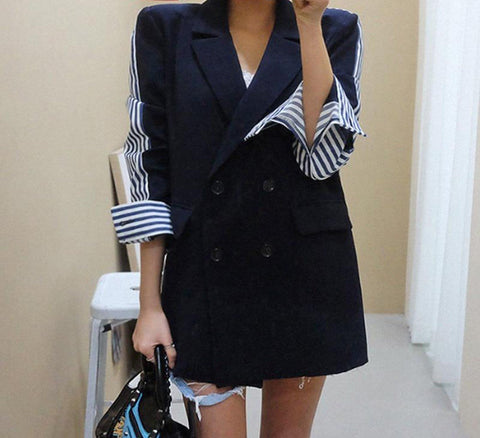 Women's Coat Three Quarter Sleeve Stripe Spliced Double Breasted Notched for Autumn Summer