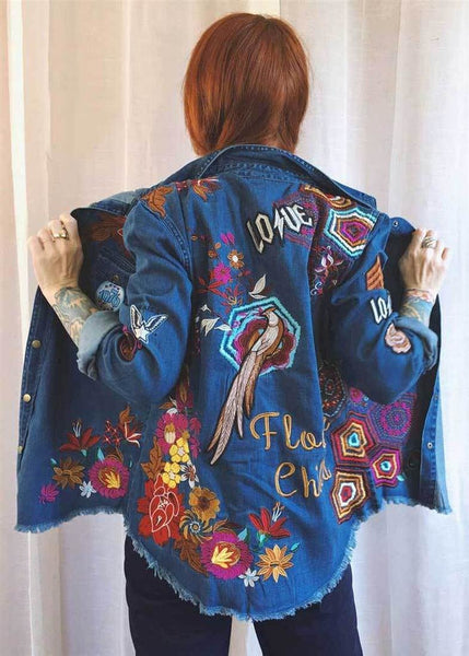 Women's Denim Shirt Vintage Floral Bird Embroidered Patches Raw Cotton Long Sleeve