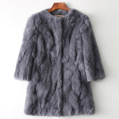 Women's Coat Real Natural Rabbit Fur Mid-long Warm for Winter