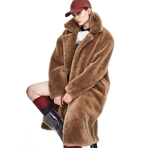 Women's Coat Teddy Bear Icon X-long Real Sheep Fur Oversized Thick Warm Outwear for Winter