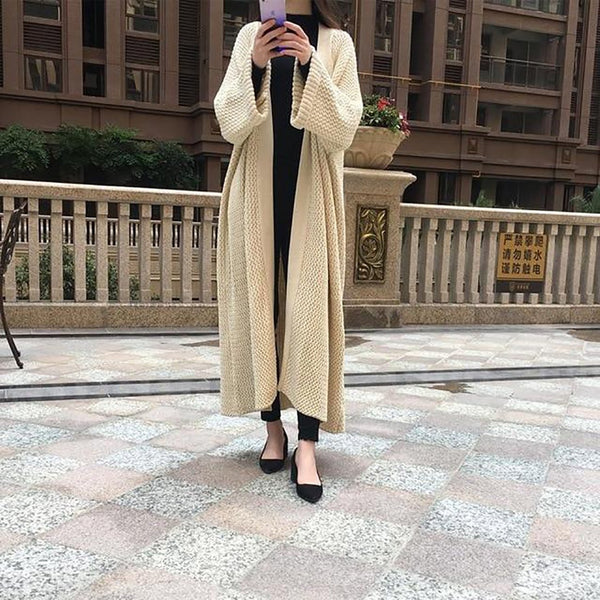 Women's Sweater Extra Long Loose Wool Thick Knitwear Solid Sleece for Winter Spring