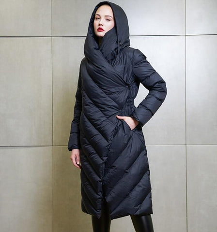 Women's Down Jacket Hooded Long Warm Thick for Winter