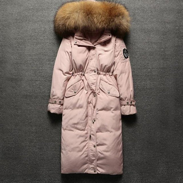 Women's Coat Big Real Fur Collar Duck Down Zipper Stitching Hooded Warm for Winter