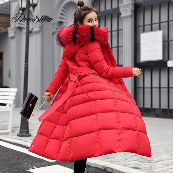 Women's Down Jacket Hooded Fur Collar Long Warm Cotton Padded for Winter