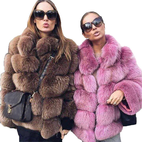 Women's Jacket Thick Warm Faux Fox Fur Casual Outwear Plus Size for Winter Autumn