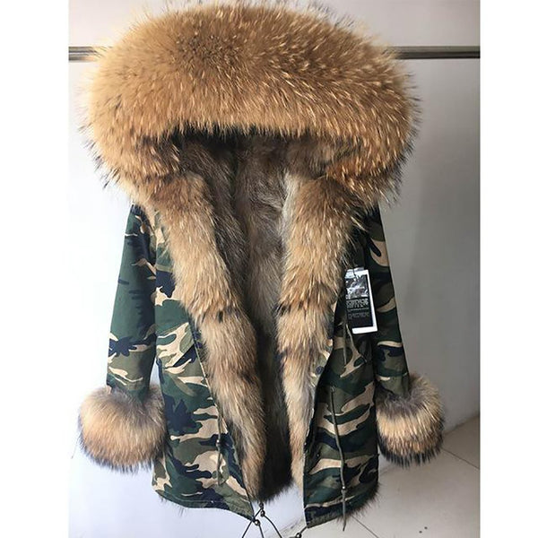 Women's Jacket Big Real Raaccoon Fur Collar Natural Fox Liner Long Outwear for Winter