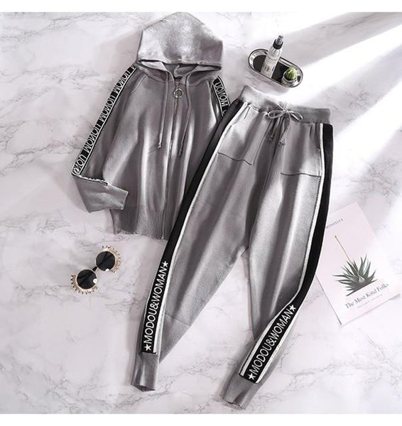 Women's Cardigan and Pants Tracksuit 2pcs/set Knitting Long Sleeves Bf Style Hooded Sporty