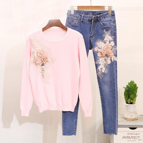 Women's Sweater and Pants 2pcs/set Bead Embroidered 3D Flowers Long Sleeves Pencil Style Jeans for Autumn