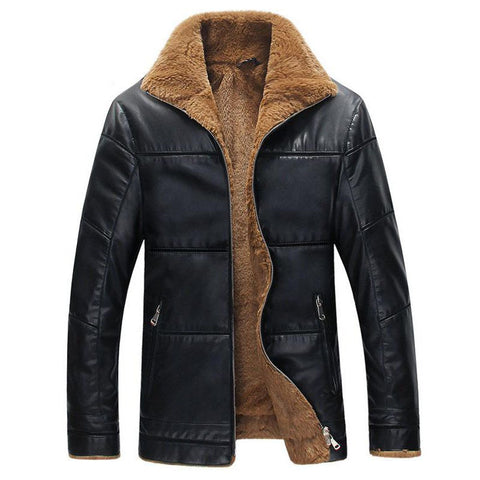 Men's Jacket Leathe Thickening Warm Windbreak Outwear Lamb Fur collar Plus Size for Winter