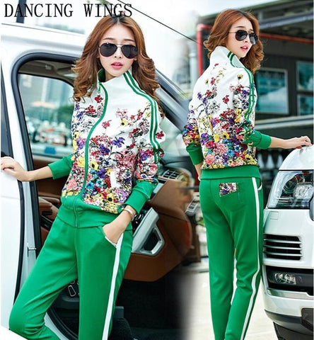 Women's Sweater and Pants Tracksuit 2pcs/set Plus Size Long Sleeve Floral Print for Autumn
