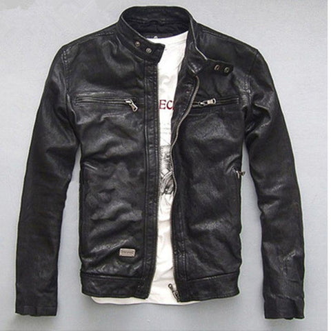 Men's Jacket Leathr Short Slim Outwear for Motorcycle Spring Autumn