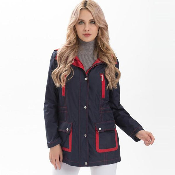Women's Trench Coat Windbreaker Patchwork Detachable Hood Turn Down Collar Plus Size fpr Autumn