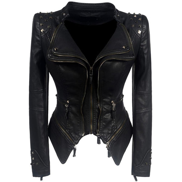 Women's Motorcycle Jacket Faux Leather PU Gothic for Winter Autumn