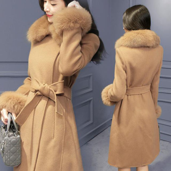 Women's Coat Elegant Wool Long Collar Detachable Fur Blend for Autumn Winter