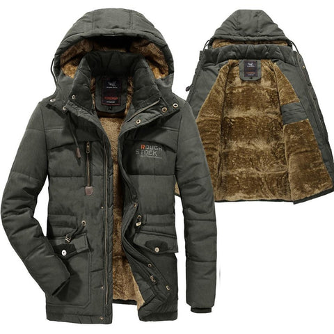Men's Jacket Thick Warm Fleece Fur Hooded Military Pockets Windbreaker for Winter
