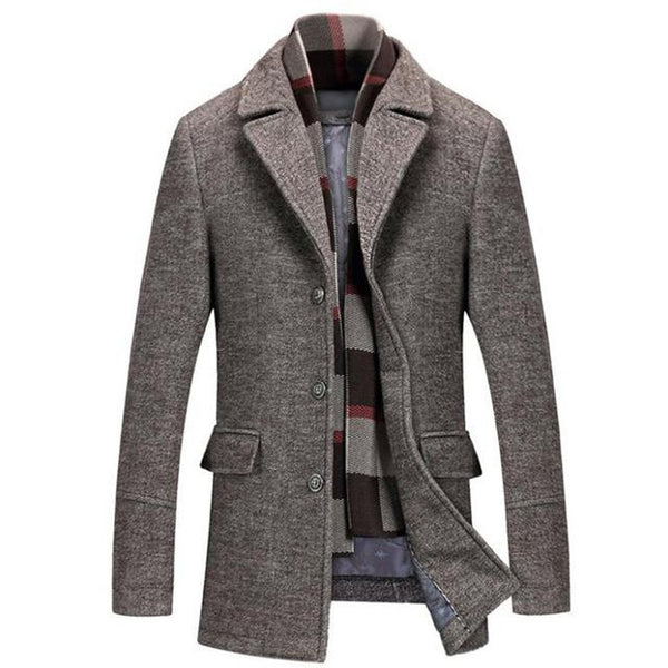 Men's Jacket Wool Casual Trench Scarf Collar for Winter Business