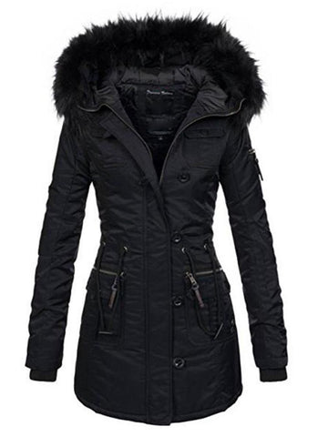 Women's Coat Thicken Warm Hooded Cotton Fur Plus Size Basic Outwear Slim Long for Winter Autumn