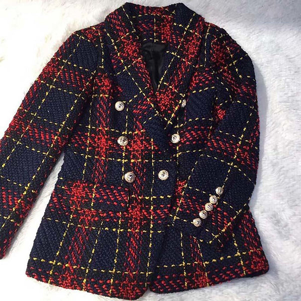 Women's Plaid Jacket Double Breasted Lion Metal Buttons Tweed for Autumn Winter