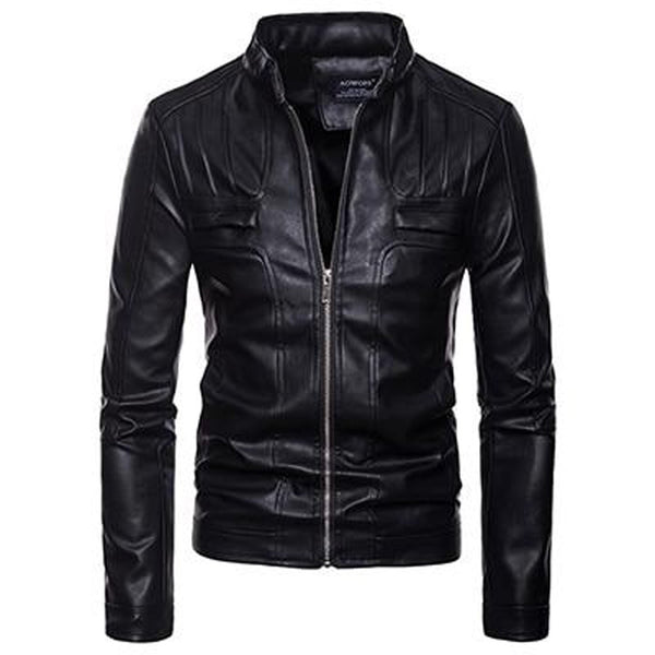Men's Leather Jacket Large Size Zipper Pocket Stand Nech Moto Bike Stlye for Winter
