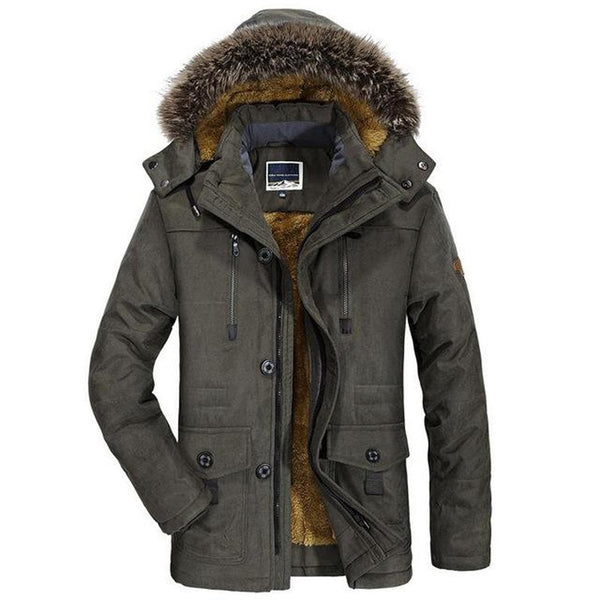 Men's Jacket Thick Casual Fur Collar Windproof Plus Size Outwear for Winter