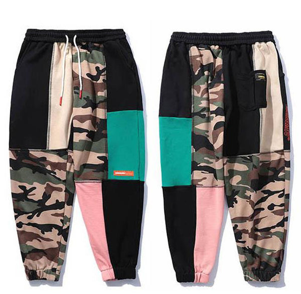 Men's Sweatpant Patchwork Block Camouflage Streetwear Cotton Track for Winter