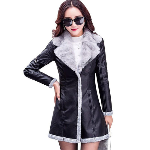 Women's Jacket Plush PU Leather Fur for Winter