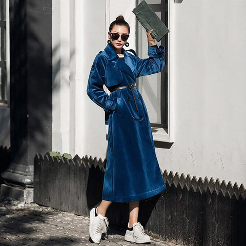 Women's Coat Vintage Velvet Long Double Breasted Retro Loose Trench for Autumn Winter
