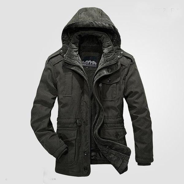Men's Jacket Warm Waterproof Big Size Thicken Heavy Wool 2 in 1 Fleece Cotton Padded for Winter