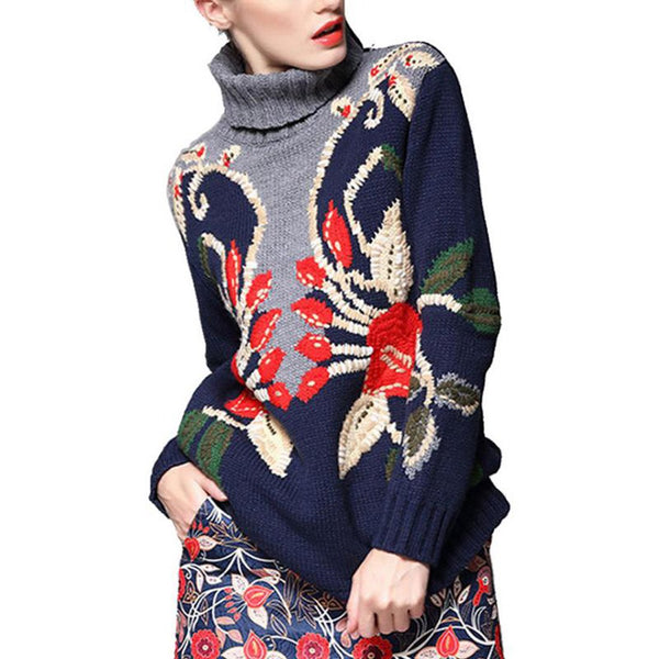 Women's Sweater Thick Turtleneck Knitted Christmas Embroidery Floral for Winter