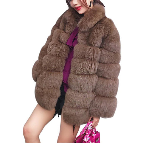 Women's Coat Plus Size Outwear Furry Faux High Collar Long Sleeve for Winter