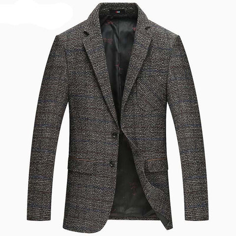 Men's Blazer Casual Wool Slim for Business Autumn Winter