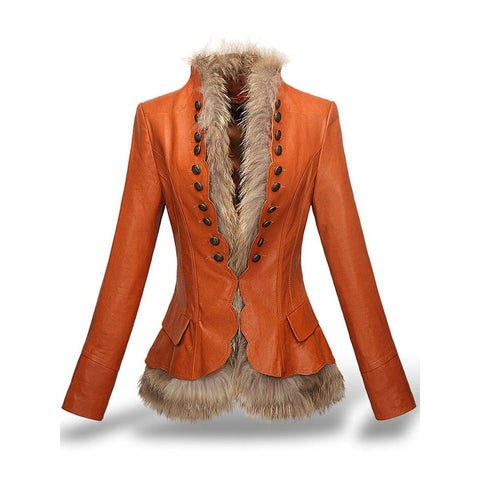 Women's Jacket Faux Leather Rivet Slim Thick Fur Liner Detachable PU suede for Winter