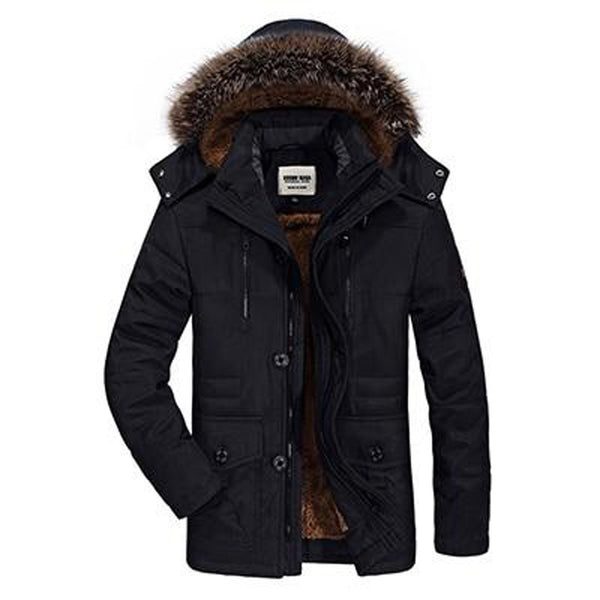 Men's Jacket Cotton Hooded Warm Long Casual Fur Down for Winter