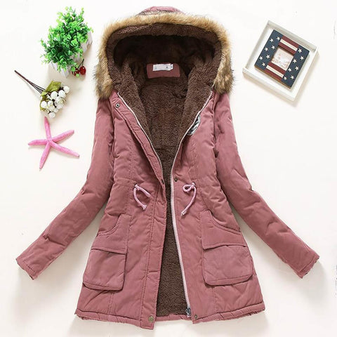 Women's Winter Jacket Cotton Hooded Warm Long Sleeved Lamb for Winter