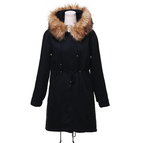 Women's Jacket Hooded Casual Long Faux Fur Thick Warm Drawstring Outwear for Winter