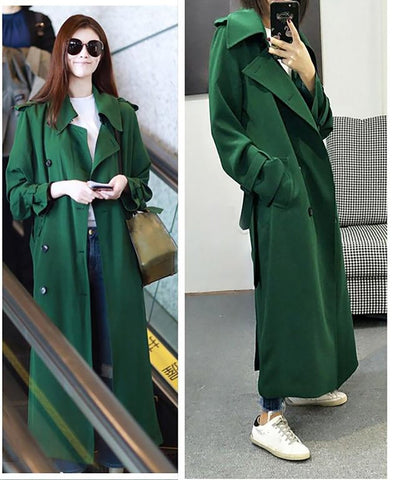 Women's Coat Casual Double Breasted Simple Classic long Trench Windbreaker for Autumn